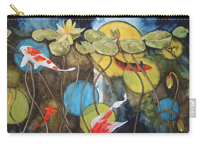 Abstract Carry-all Pouch featuring the painting Swimming In Circles by Jean Blackmer