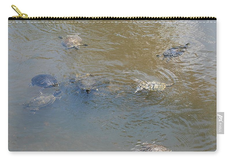 Water Carry-all Pouch featuring the photograph Swimming Turtles by Rob Hans