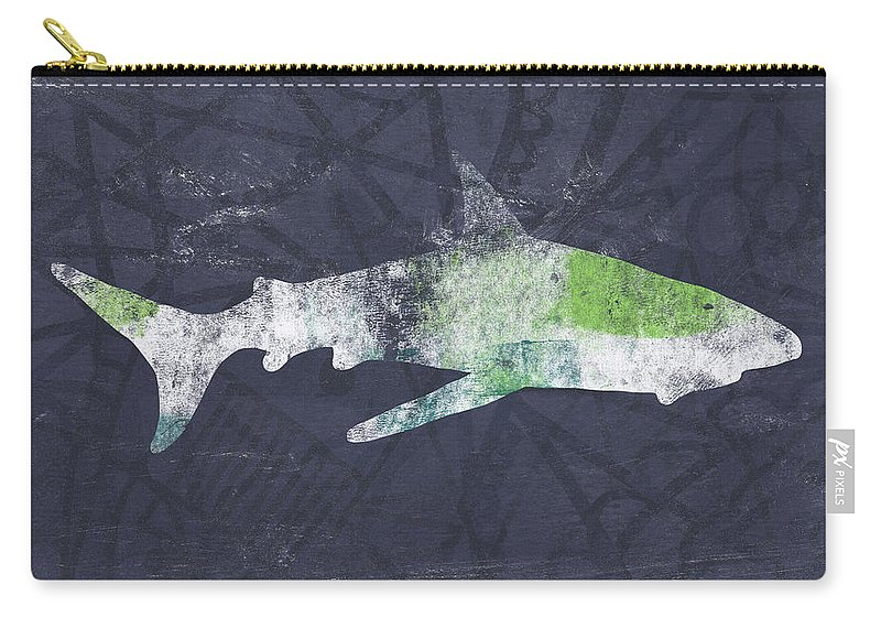 Shark Carry-all Pouch featuring the painting Swimming With Sharks 3- Art By Linda Woods by Linda Woods