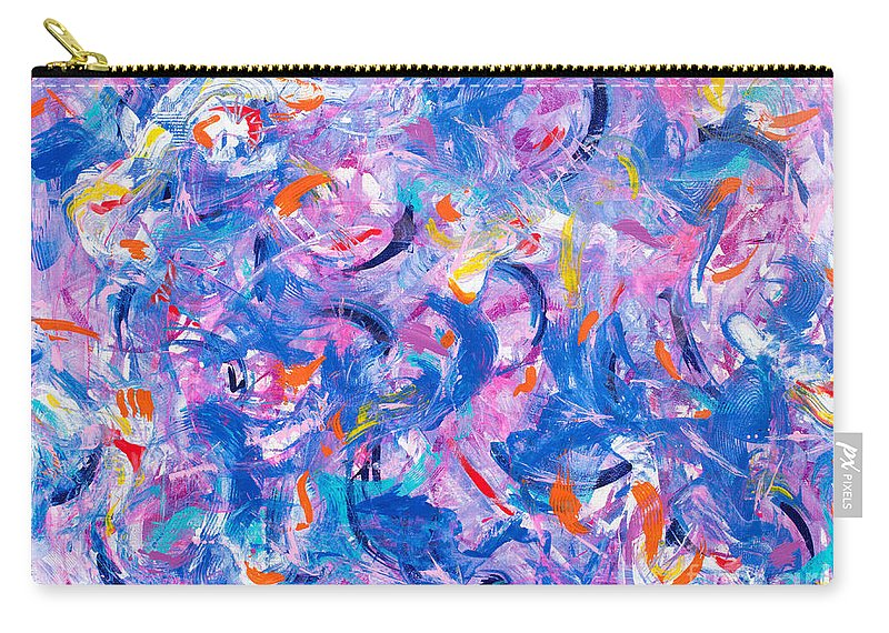 Original Artwork On Canvas Wild Playful Joyous Riot Of Abstract Shapes And Vibrant Colors .contemporary Modern Dynamic Passionate. Carry-all Pouch featuring the painting Swimming with the fishes by Priscilla Batzell Expressionist Art Studio Gallery