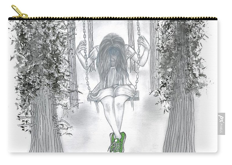 Swinging Girl Carry-all Pouch featuring the drawing Swinging With Chucks by Manon Zemanek