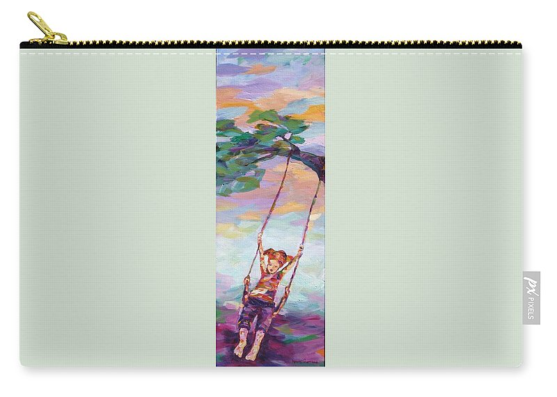Child Swinging Carry-all Pouch featuring the painting Swinging With Sunset Energy by Naomi Gerrard