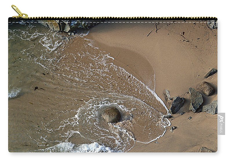 Big Sur Carry-all Pouch featuring the photograph Swirling Surf And Rocks by Charlene Mitchell