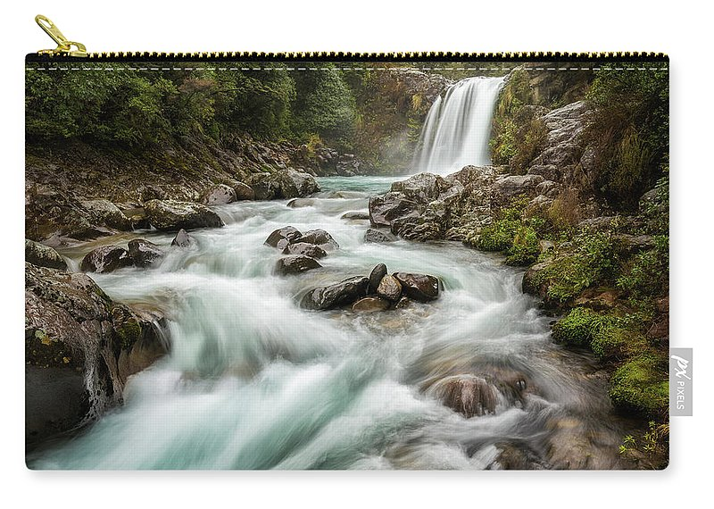 Waterfall Carry-all Pouch featuring the photograph Swirling Waters - Tawhai Falls by Jon Fischer
