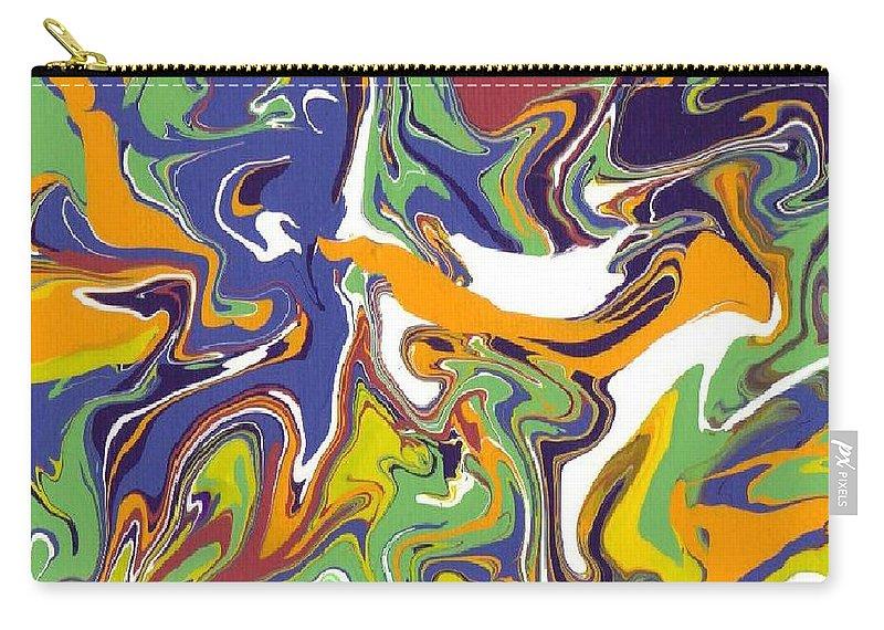 Swirls Carry-all Pouch featuring the painting Swirls Drip Art by Jill Christensen