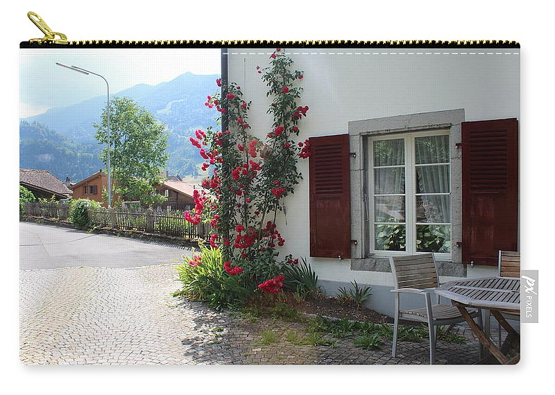 Switzerland Carry-all Pouch featuring the photograph Swiss Cottage by Lindsay Rapp