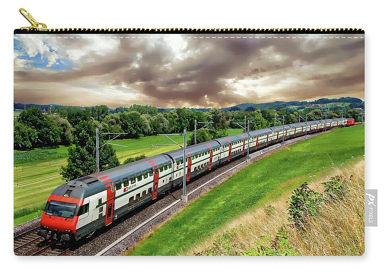 Railroad Carry-all Pouch featuring the photograph Swiss Passenger Train by Anthony Dezenzio