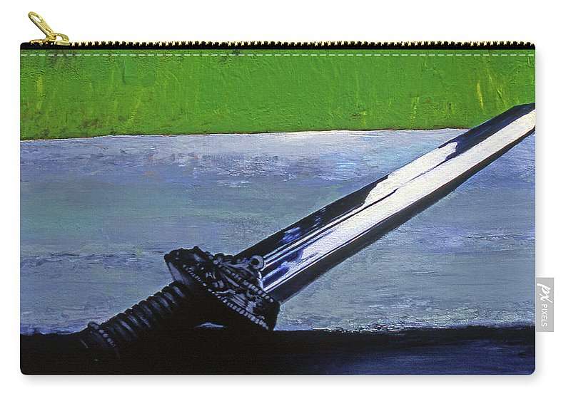 English Sword Carry-all Pouch featuring the painting Sword Of Protection by Rene Capone