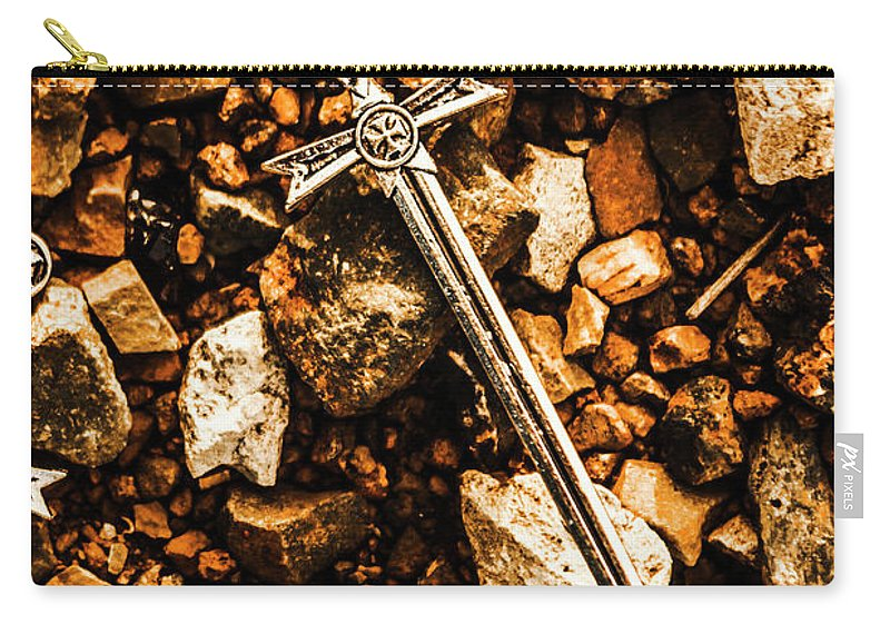 Battlefield Carry-all Pouch featuring the photograph Swords And Legends by Jorgo Photography - Wall Art Gallery