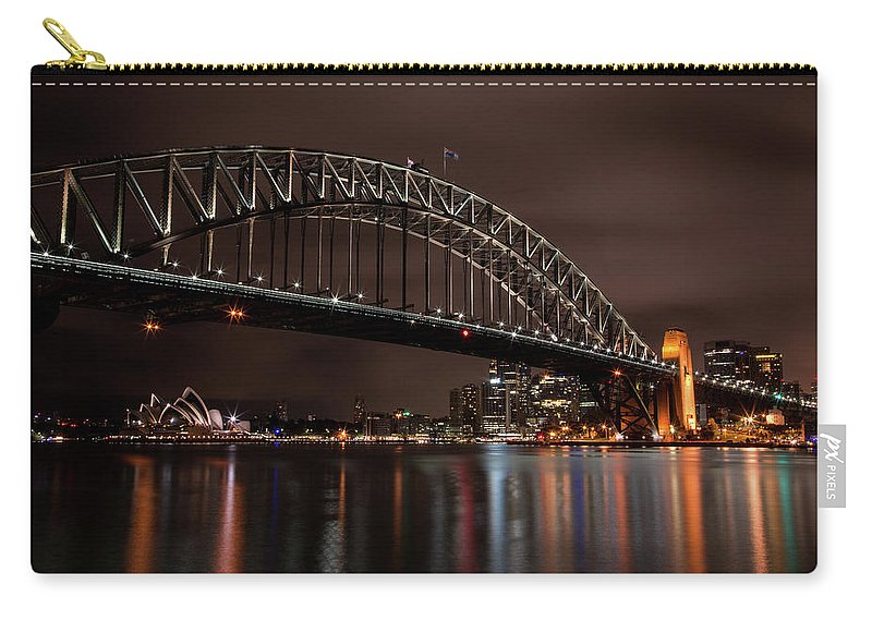 Sydney Carry-all Pouch featuring the photograph Sydney Harbor At Night With Train by John Daly