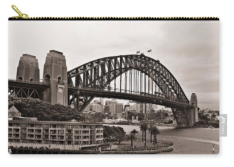 Sydney Harbor Bridge Carry-all Pouch featuring the photograph Sydney Harbor Bridge Platinum by Douglas Barnard