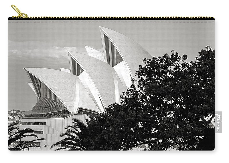 Sydney Carry-all Pouch featuring the photograph Sydney Opera House Black And White by Nicholas Blackwell