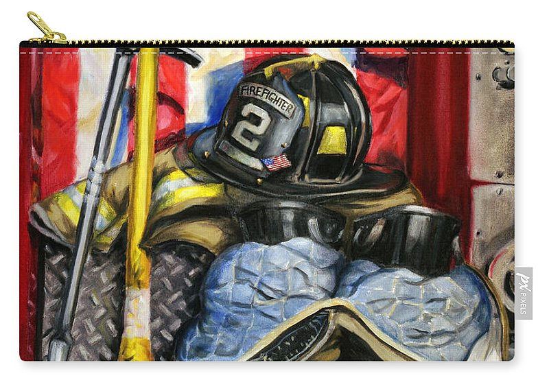 Firefighting Carry-all Pouch featuring the painting Symbols Of Heroism by Paul Walsh