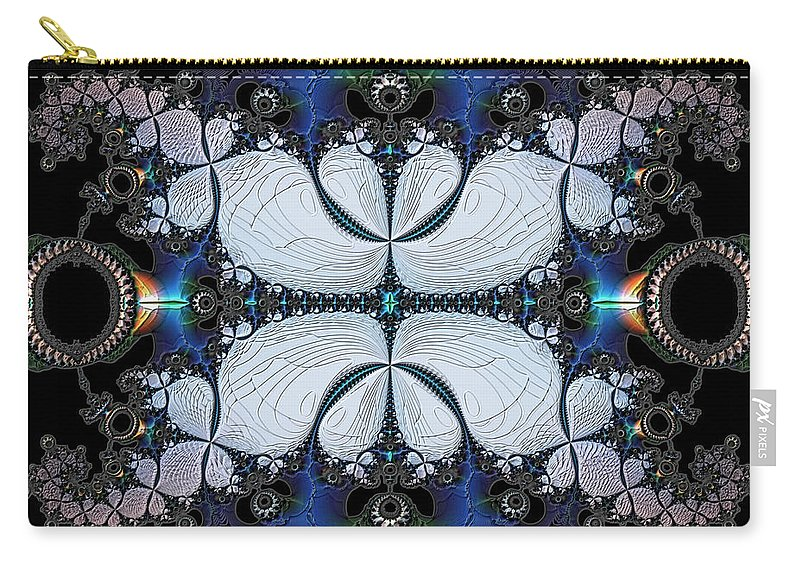 Abstract Carry-all Pouch featuring the digital art Symmetry In Circuitry by Casey Kotas