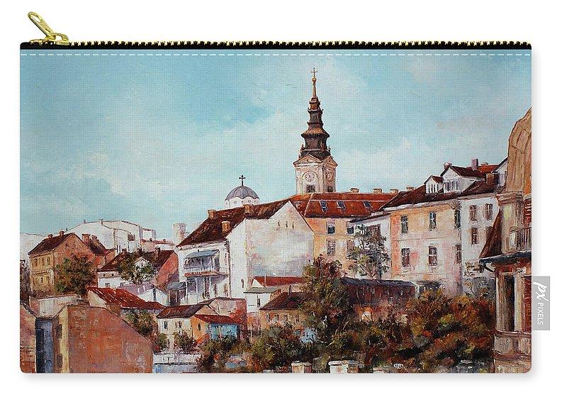 Synod Church In Belgrade Paintings Carry-all Pouch featuring the painting Synod Church - Belgrade by Miroslav Stojkovic