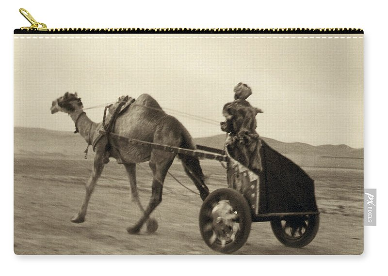 1938 Carry-all Pouch featuring the photograph Syria: Camel Race, C1938 by Granger
