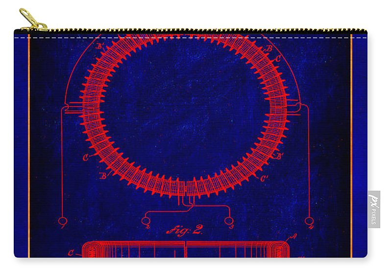 Patent Carry-all Pouch featuring the mixed media System Of Electrical Distribution Patent Drawing 1a by Brian Reaves