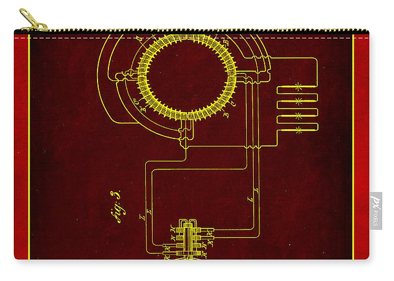 Patent Carry-all Pouch featuring the mixed media System Of Electrical Distribution Patent Drawing 2b by Brian Reaves