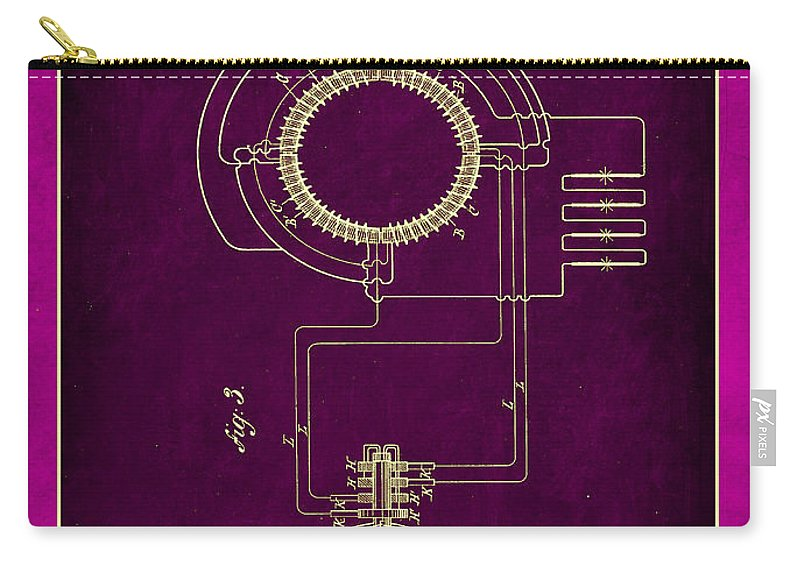 Patent Carry-all Pouch featuring the mixed media System Of Electrical Distribution Patent Drawing 2c by Brian Reaves