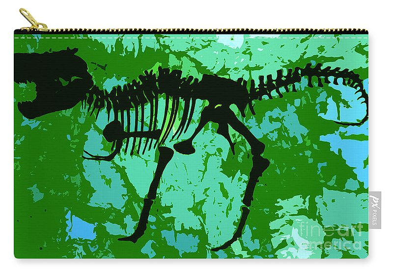 T Rex Carry-all Pouch featuring the digital art T. Rex by David Lee Thompson