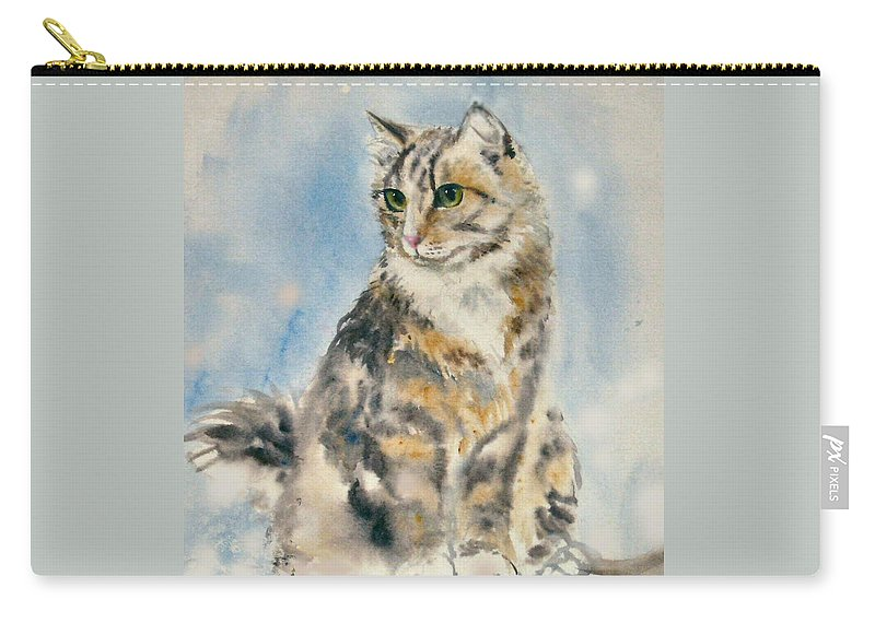 Cat Painting. Original.tabby Cat Carry-all Pouch featuring the painting Tabby Cat by Frances Gillotti
