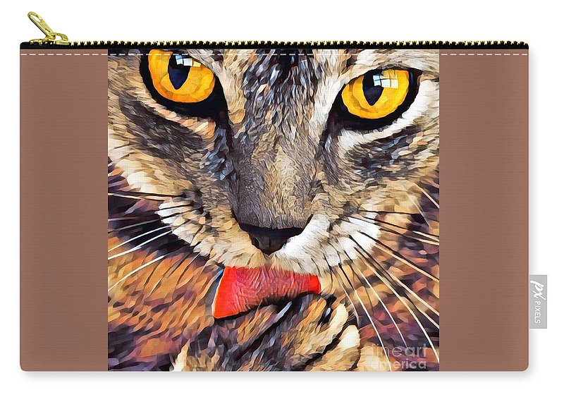 Animal Carry-all Pouch featuring the photograph Tabby Cat Licking Paw by Tarisa Smith