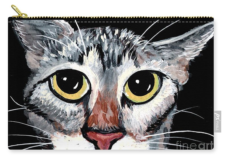 Cat Carry-all Pouch featuring the painting Tabby Eyes by Elaine Hodges