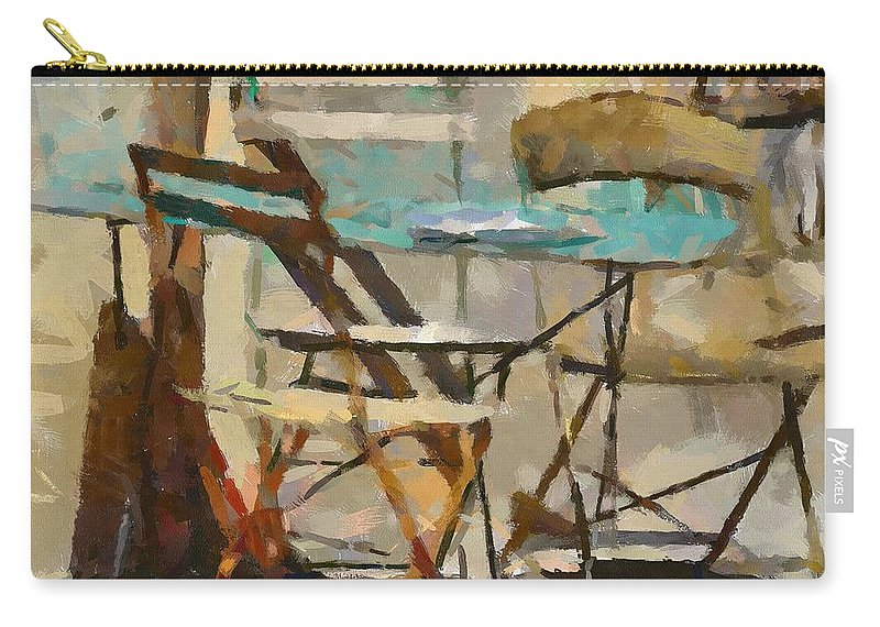 Cityscape Carry-all Pouch featuring the painting Table Bleue Au Soleil by Dragica Micki Fortuna