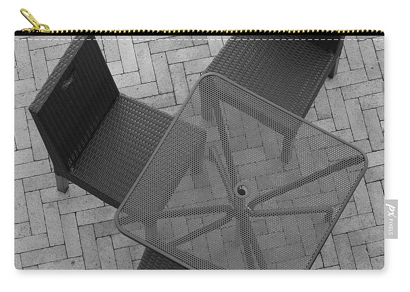 Table Carry-all Pouch featuring the photograph Table Chairs From Above by Rob Hans