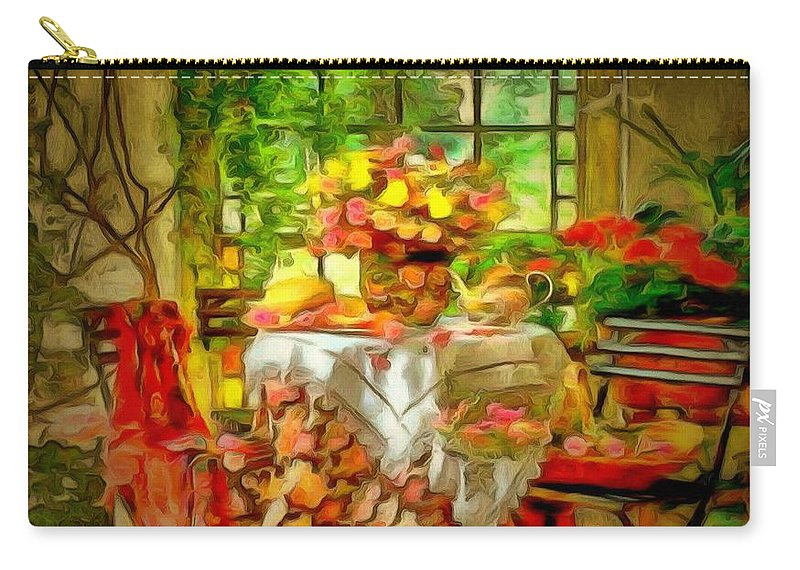 Table For Two In Ambiance Carry-all Pouch featuring the painting Table For Two In Ambiance by Catherine Lott