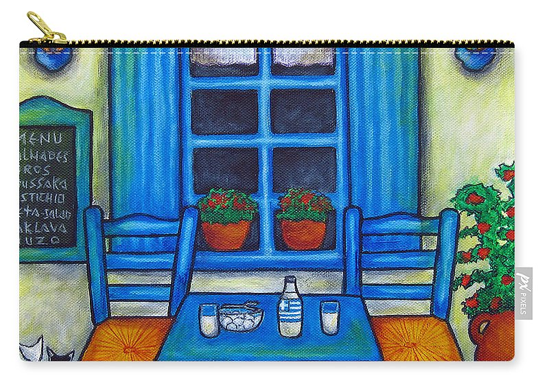 Blues Carry-all Pouch featuring the painting Table for Two in Greece by Lisa Lorenz