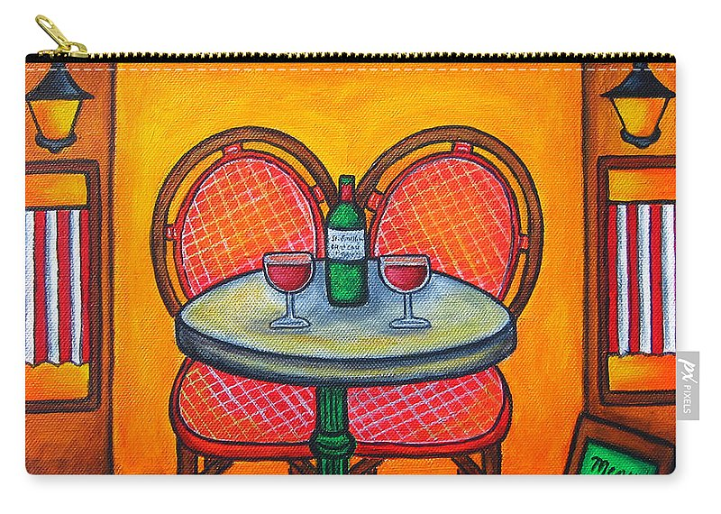 Paris Carry-all Pouch featuring the painting Table For Two In Paris by Lisa Lorenz