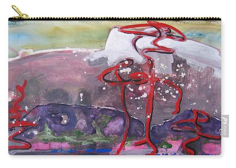 Abstract Paintings Carry-all Pouch featuring the painting Table Land3 by Seon-Jeong Kim