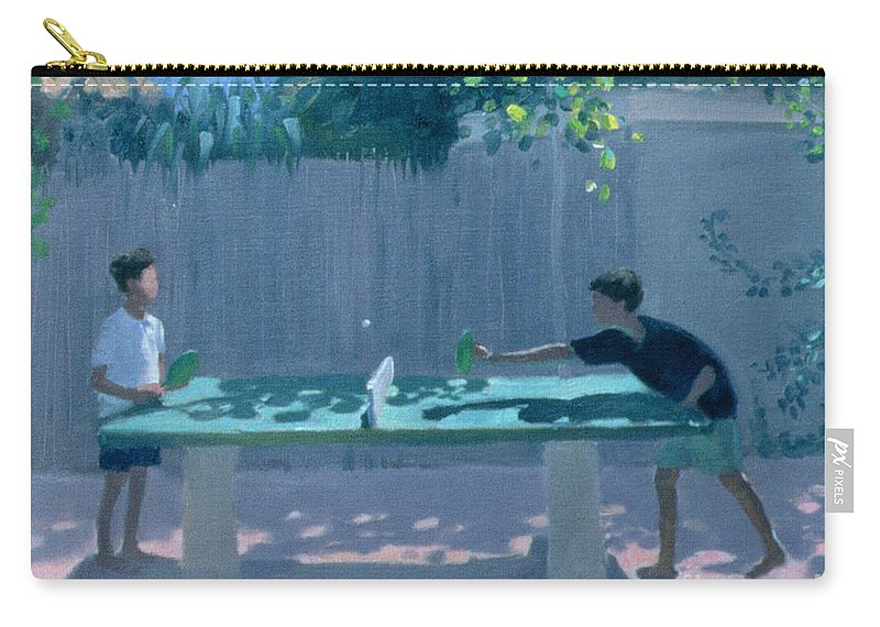 Ping Pong Carry-all Pouch featuring the painting Table Tennis by Andrew Macara
