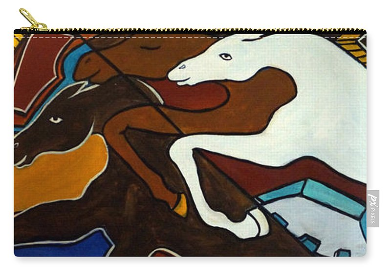 Horse Abstract Carry-all Pouch featuring the painting Taffy Horses by Valerie Vescovi
