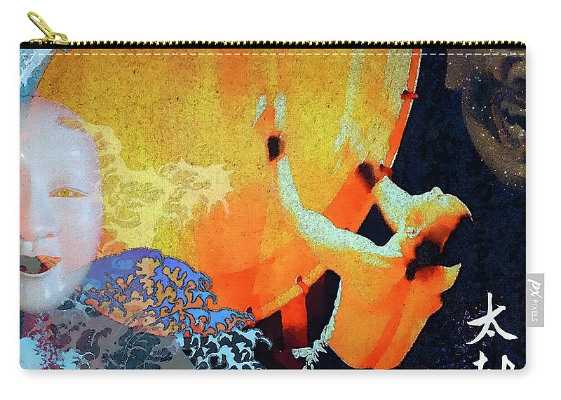 Taiko Carry-all Pouch featuring the mixed media Taiko Drumming by Stacey Chiew