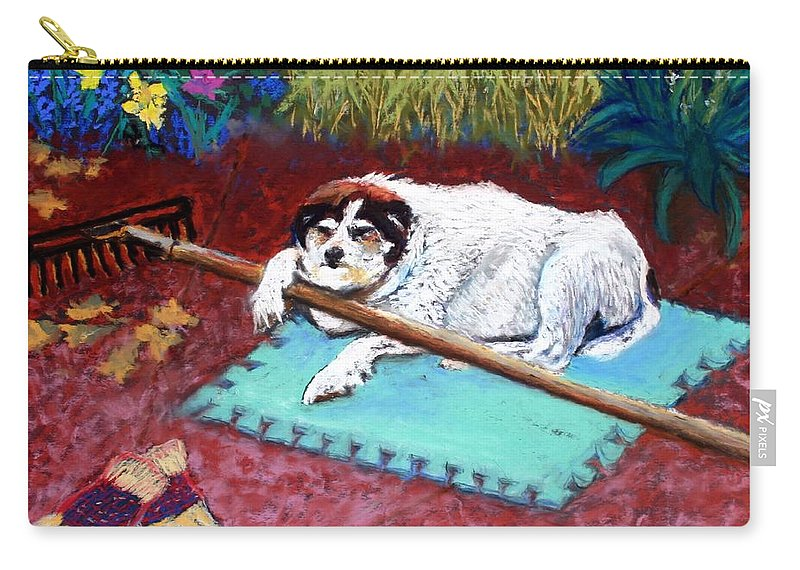 Dog Carry-all Pouch featuring the painting Take a Break by Minaz Jantz