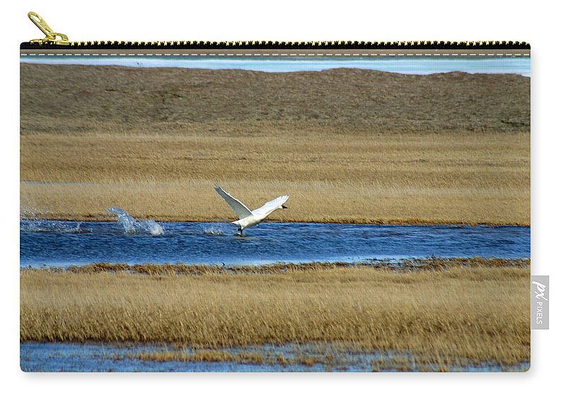 Swan Carry-all Pouch featuring the photograph Take Off by Anthony Jones