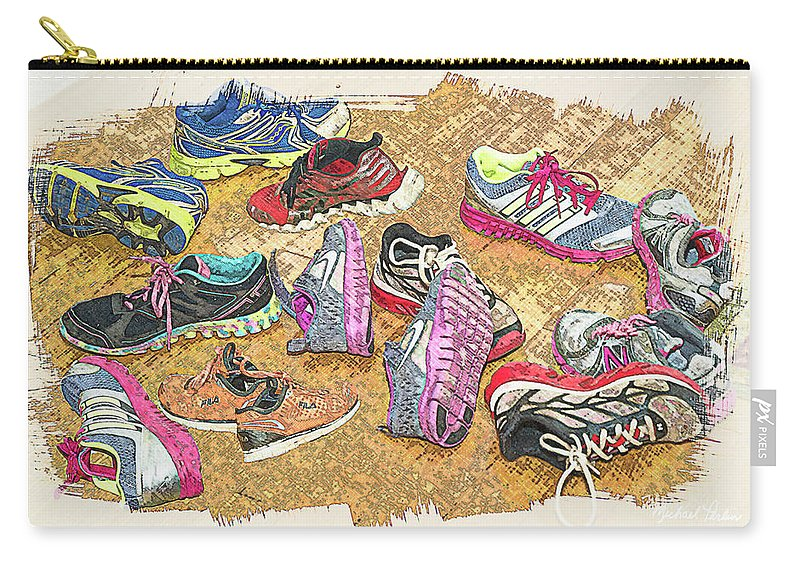 Sport Shoes. Tennis Shoes Carry-all Pouch featuring the digital art Take Them Off At The Door by Michael Perlin