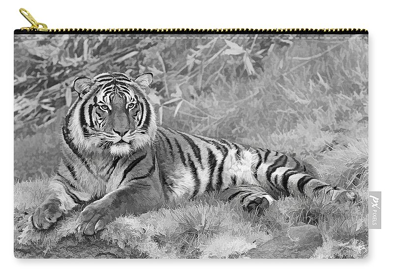 Takin It Easy Tiger Black & White Carry-all Pouch featuring the photograph Takin It Easy Tiger Black And White by Wes and Dotty Weber