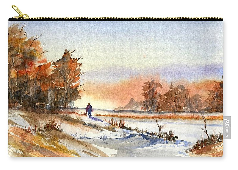 Peaceful Carry-all Pouch featuring the painting Taking A Walk by Debbie Lewis