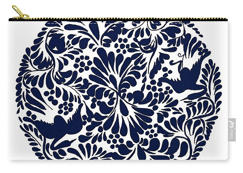 Talavera Design Carry-all Pouch featuring the drawing Talavera Design by Priscilla Wolfe