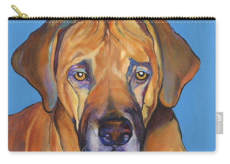 Rhodesian Ridgeback Dog Ridgeback African Colorful Orange Gold Yellow Red Carry-all Pouch featuring the painting Talen by Pat Saunders-White