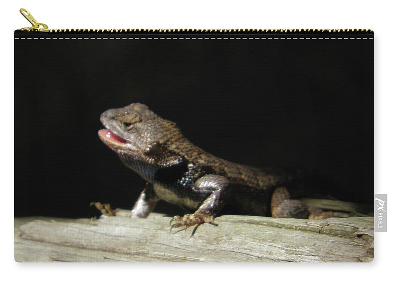 Lizards Carry-all Pouch featuring the photograph Talking Lizard by Angelcia Wright