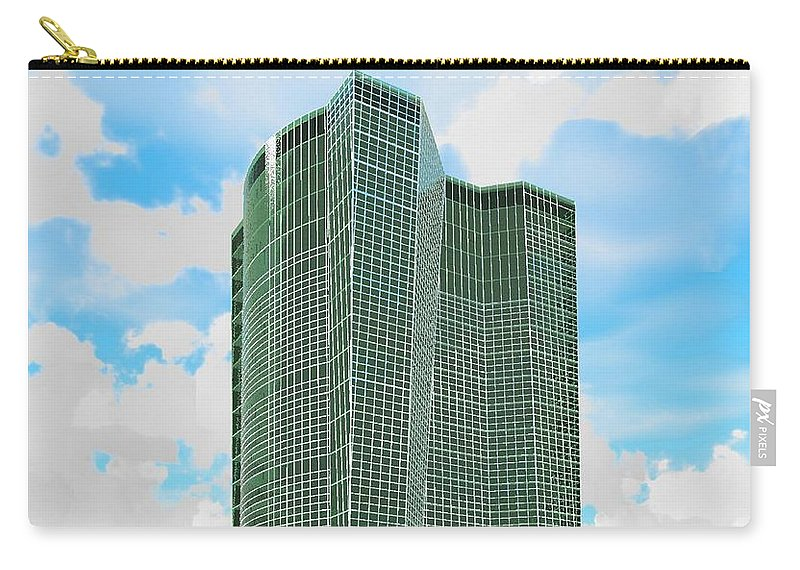 Building Rendering Carry-all Pouch featuring the digital art Tall And Green by Ron Bissett
