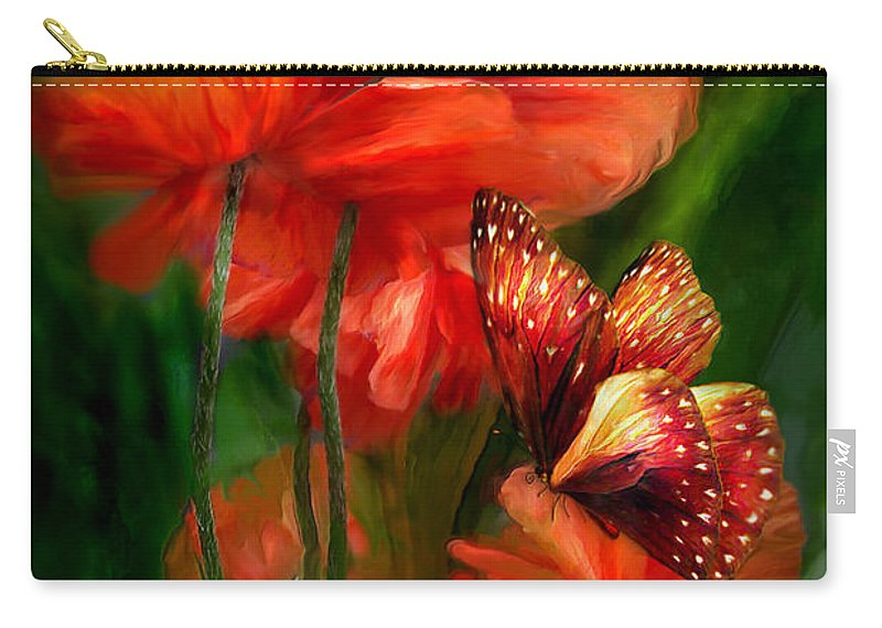 Poppy Carry-all Pouch featuring the mixed media Tall Poppies by Carol Cavalaris