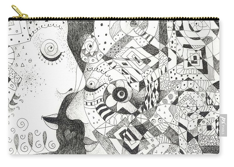 Relationship Carry-all Pouch featuring the drawing Tall Tales by Helena Tiainen