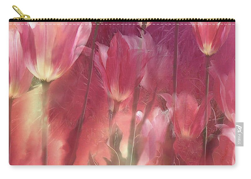 Tulip Carry-all Pouch featuring the mixed media Tall Tulips by Carol Cavalaris