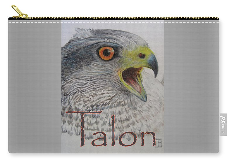 Hawk Carry-all Pouch featuring the drawing Talon Close Up by Lucien Van Oosten