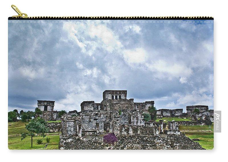 Tulum Ruins Carry-all Pouch featuring the photograph Talum Ruins 8 by Douglas Barnett